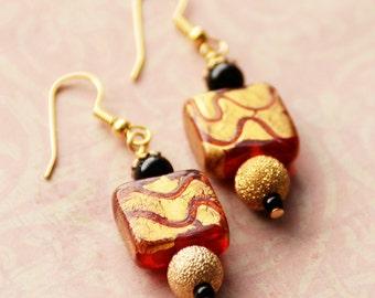 Red Earrings, Gold Earrings, Red Foiled Glass Earrings, Geometric Jewelry, Red Black Gold Earrings, Square Earrings, Petite Earrings, SRAJD