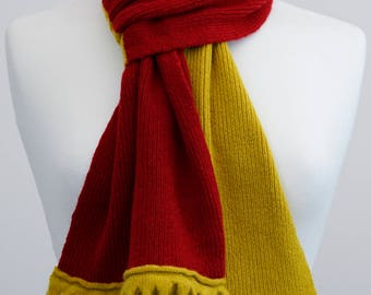 Red and Mustard 2 colour Lambswool Scarf