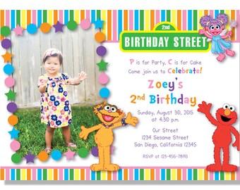 Sesame Street - Zoe, Abby, Elmo Birthday Girl Invitations - Digital File