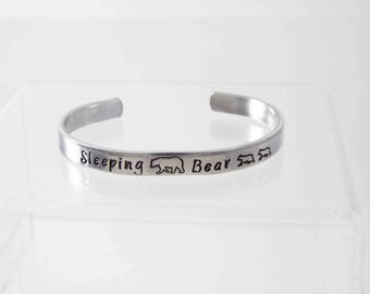 Sleeping Bear Cuff Bracelet, Sleeping Bear Dunes, Michigan Jewelry, Michigan Bracelet, Great Lakes, Glen Arbor, Traverse City, Stamped Cuff