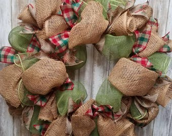 Red and green plaid christmas wreath