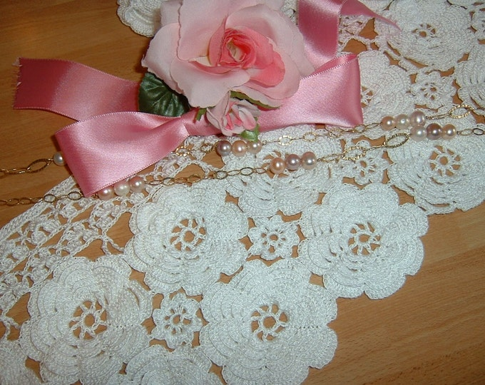 Featured listing image: Crochet lace curtain consisting of two rows of Irish roses-romantic white cotton lace-to-order.