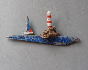 Lighthouse Driftwood Wall Art constellation Boatwood