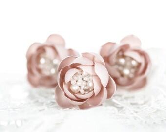 715_Pink flower hair pin, Blush wedding hair accessory, Small hair flowers, Bridesmaid hair pin, Bridesmaid hairpiece, Wedding hair pin Hair