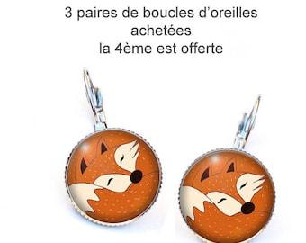 Boucles d'oreilles Dormeuses Renard,cabochons résine  ,ref.A 190
