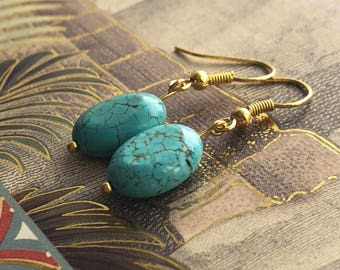 Turquoise Bead & Gold Plated Earrings