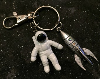 Keychain, outer space, rocketship, astronaut, crystals