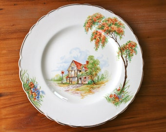 A.J. Wilkinson plate with house and tree decoration - Royal Staffordshire Pottery - vintage 1940s