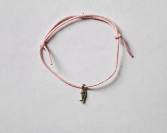 cute silver seahorse charm on waxed cotton cord adjustable friendship bracelet