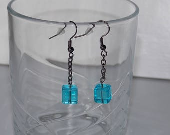Pearl dangle earrings turquoise blue