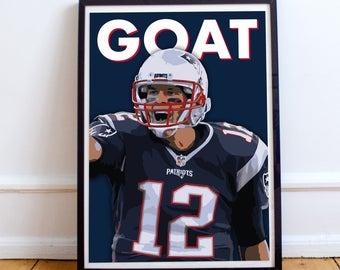 "Tom Brady ""GOAT"" New England Patriots Poster/Print"