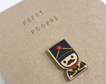 Party Pooper Birthday Card - Wooden Button - Celebration - Snail Mail