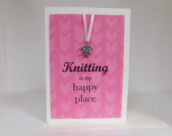 Knitting Greeting Card with real charm - sweater knitting and needles