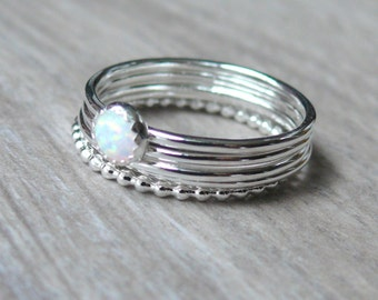 White opal ring in silver, Opal stackable ring, Sterling silver stacking ring set