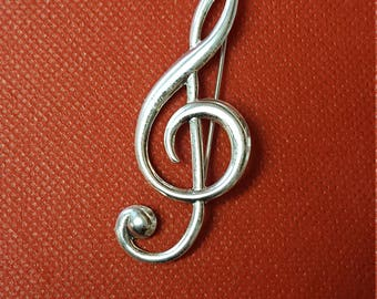 Vintage Danecraft Treble Clef Sterling Silver Brooch