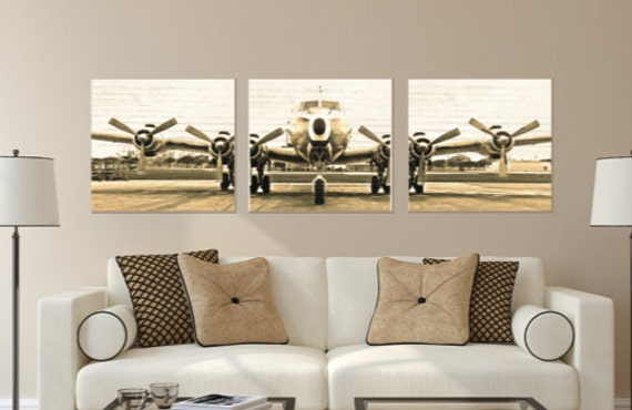 Set Of 3 Vintage Airplane Photo Canvas Canvas Wall Art