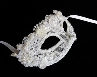 White Wedding Masquerade Mask, Carnival Mask, HenParty Mask, Lace Mask, Masquerade Ball Mask, Mardi Gras Mask, Venetian Mask, Bridal Mask