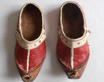 antique traditional leather tsarouhia, shoes