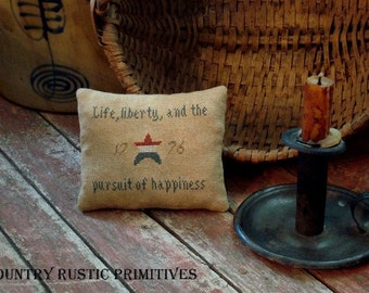 Primitive Liberty Pillow Tuck Cross Stitch E Pattern PDF