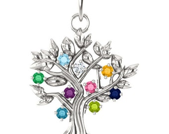 Your Family Tree of Life Pendant, Gift for Mom, Grandma, Mothers Day Gift, Family Birthstone Jewelry, 1 to 9 Birthstones, Solid 925 Silver