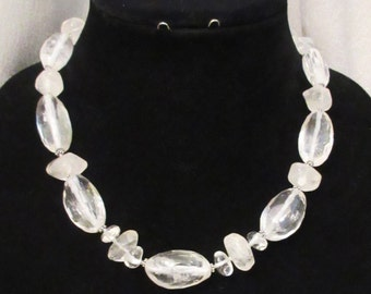 Quartz Jewelry, Quartz Necklace, Handmade Necklace, Clear Quartz Necklace, Rock Quartz Nuggets, Bridal Jewelry, Natural Gems, Gift for Her