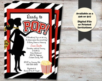 Ready to Pop Baby Shower, About to Pop, Zebra Print Baby Shower, Ready to Pop Baby Shower, Ready to Pop, It's A Boy, Digital File or Printed