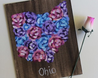 Ohio, Ohioan, Ohio Art, Floral Ohio, Roses Art, Floral Painting, Flower Art, Acrylic Painting, Home Decor, 8x10 Canvas Board NO Frame