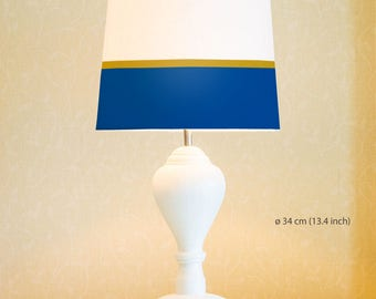 Navy and gold lines | Lamp Shade. Diameter 34 cm (13.4 in), 23 cm (9 in), 45 cm (17.7 in). Ceiling or floor, table lamp, hand painted