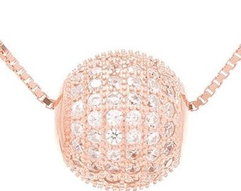 925 Sterling Silver Rose gold ball necklace