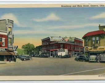 Broadway Main Street Intersection Cars Geneva Ohio 1940s linen postcard