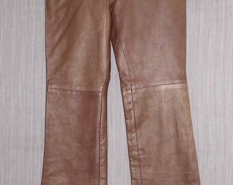 Barami Leather Gold Brown Women Moto flared Pants Size:4