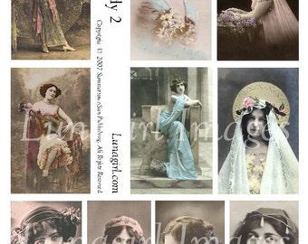 PRETTY LADIES digital collage sheet, vintage photos, gypsy images Victorian Edwardian women girls goddess French postcards ephemera DOWNLOAD