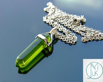 Green Glass Point Pendant Gemstone Necklace Chakra Reiki Healing Stone FREE UK SHIPPING