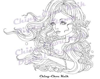 Endless Waiting - Instant Download Digital Stamp / Coral Seashell Pearl Fantasy Mermaid Fairy Girl by Ching-Chou Kuik