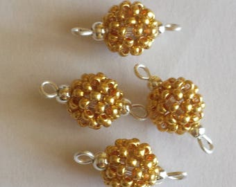 4 beads seed connectors (2mm) metallic gold