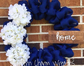 "Navy Burlap with White Hydrangeas ""home"" Wreath"