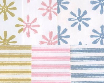 Vintage Flocked Wallpaper - Daisy and Stripe Assortment