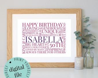 Personalised 50th BIRTHDAY GIFT - Word Art - 50th Birthday Gifts for Women - Personalised Prints - Gift for Men - Husband Gift - Print