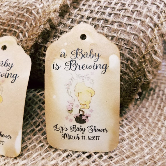A Baby is Brewing bridal shower tag baby shower tag MEDIUM Personalized Wedding Favor Tag  choose your amount