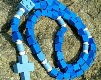 The Original Mementomoose Rosary Made with Lego Bricks - Blue Catholic Rosary - The Blessed Mother