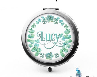 Compact Mirror Succulents and Eucalyptus Floral Wreath The Lucy Bridesmaid Gifts Cosmetic Mirror Personalized Gifts Birthdays Weddings