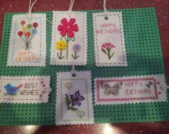 Pack of 6 Hand embroidered cross stitch gift tags