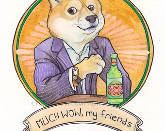 Much Wow Beer 'Doge Equis' funny illustration - 11x14 inch print