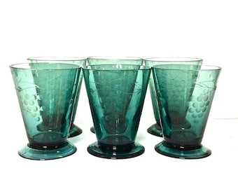 Set of 6 Etched Dark Teal Green Glassware with Grape Motif 6 oz, Made in India