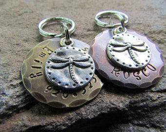 Dragonfly Dog Tag - Pet ID Tag - Dog collar tag - Dog ID Tag - Custom pet id tag - Personalized pet tag - Engraved - Brass pet tag - Copper