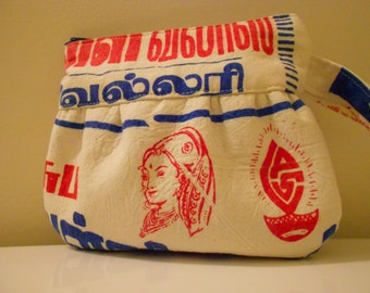 Red & Blue Print Pretty Lady Face Recycled Indian Jewelry Bag Wristlet Purse