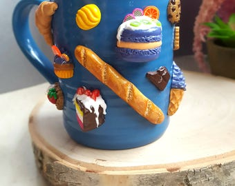 Polymer Clay Mug 3D Sweets Tea Cups Baked Goods Unique Gifts Treats Blue Mugs Gifts for Her