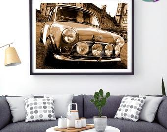 Mini Cooper Classic Sepia Front View - Art Print- Mini Cooper - Classic Mini Car - Austin Mini Cooper