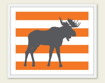 Moose Art Print - Moose Nursery Wall Art - Woodland Moose Print - Modern Moose Wall Art - Orange and Gray - Stripes Print - Aldari Art