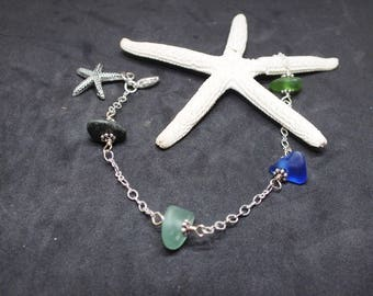 Sea Glass Bracelet,  Beach Glass Jewelry, Beach Bracelet, Starfish Bracelet, Seaglass, Seaglass Jewelry, Free Shipping inside the US